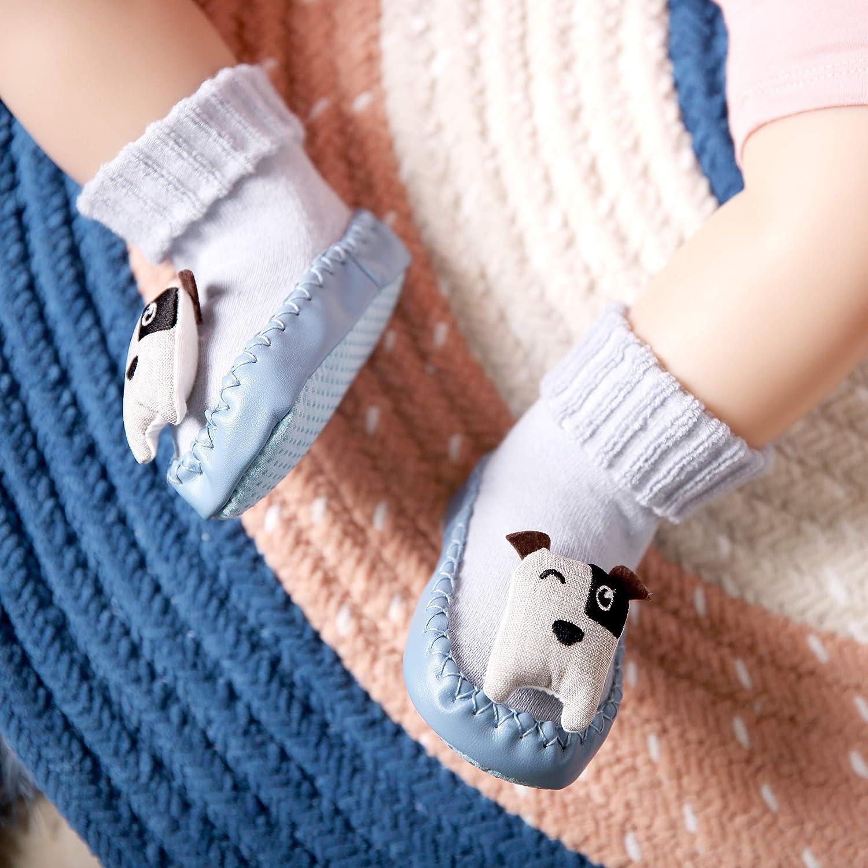Eocom Baby Boy Girls Toddlers Animal Moccasins Non-Skid Indoor Slipper Winter Warm Shoes Socks