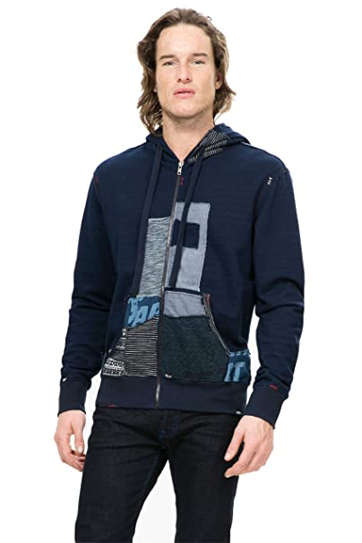 Desigual - Sudadera con capucha - para hombre azul XL: Amazon.es: Ropa y accesorios