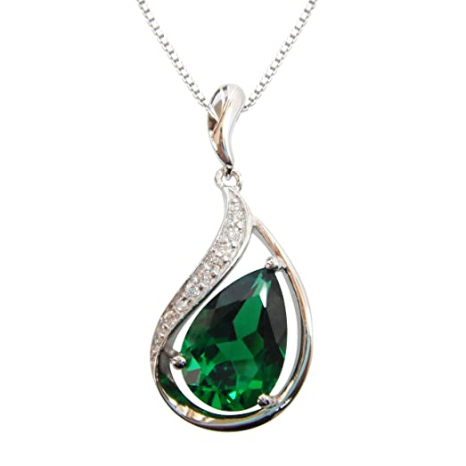 Navachi 925 Sterling Silver 18k White Gold Plated 4.0ct Pear Emerald Or Ruby Necklace Pendant 16 2dOc23Fz