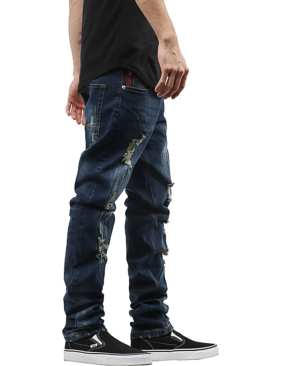 f40bea875a644d Ma Croix Mens Skinny Fit Stretch Jeans Distressed Ripped Denim Pants at  Amazon Men's Clothing store: