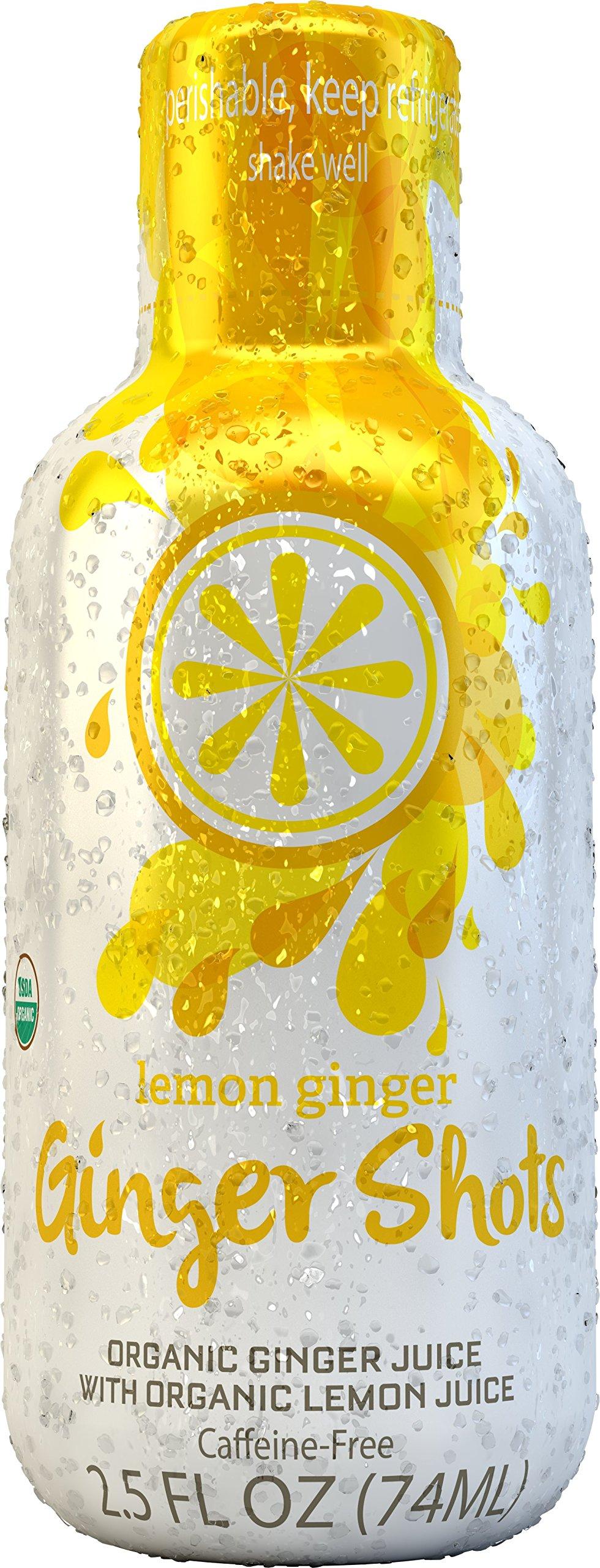 Ginger Shots Organic Cold Pressed Ginger Juice Shot, Lemon Ginger, 12-Pack