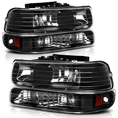 AUTOSAVER88 Headlight Assembly Compatible with 1999-2002 Chevy Silverado 1500 2500/2001-2002 Chevy Silverado 1500HD 2500HD 3500/2000-2006 Tahoe Suburban 1500 2500 Headlamp with Bumper Lights: Automotive