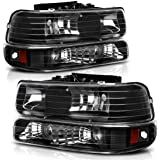 AUTOSAVER88 Headlight Assembly Compatible with 1999-2002 Chevy Silverado 1500 2500/2001-2002 Chevy Silverado 1500HD 2500HD 35