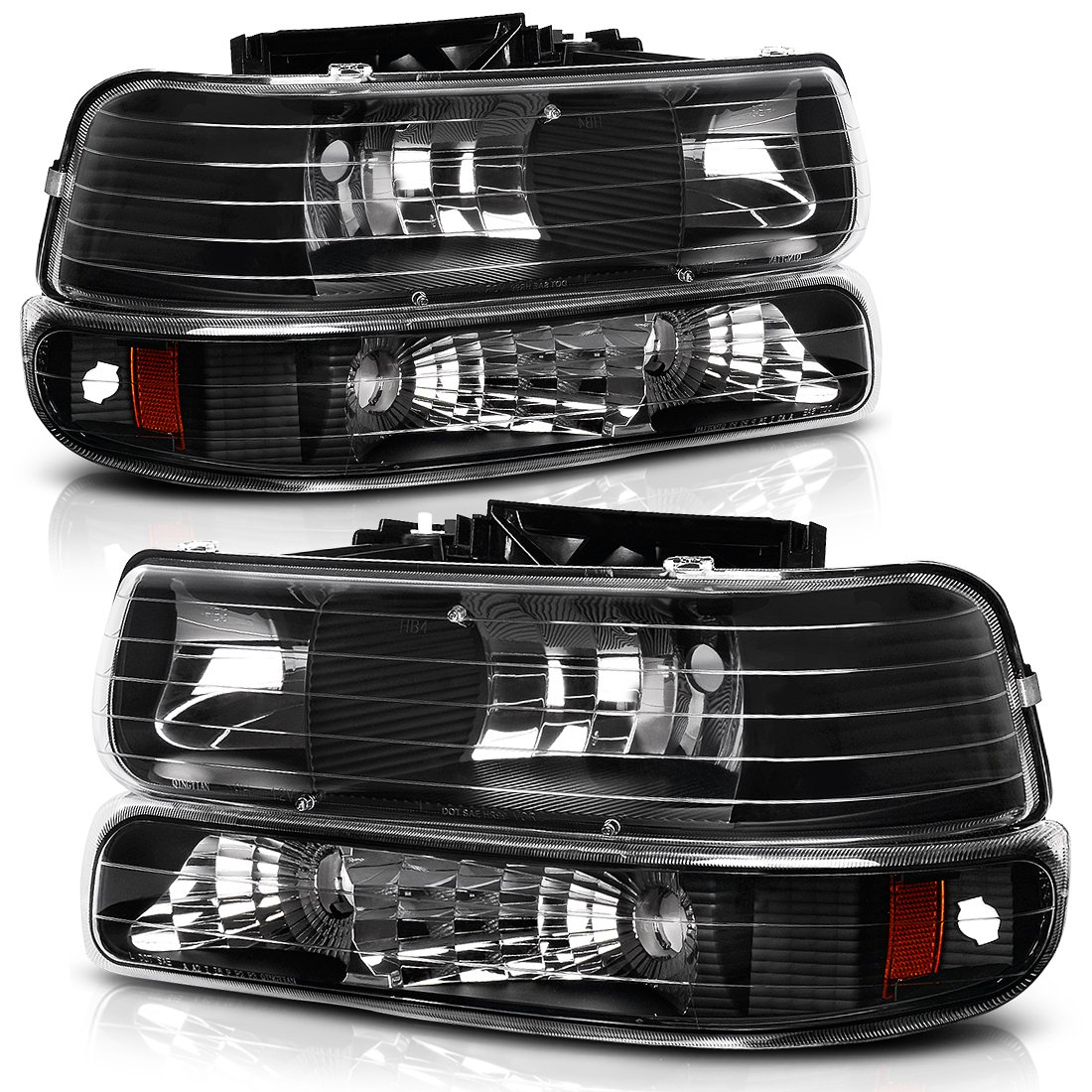 Headlight Assembly for 1999-2002 Chevy Silverado 1500 2500//2001 2002 Chevy Silverado 1500HD 2500HD 3500//2000-2006 Tahoe Suburban 1500 2500 Headlamp with Bumper Lights Passenger And Driver Side