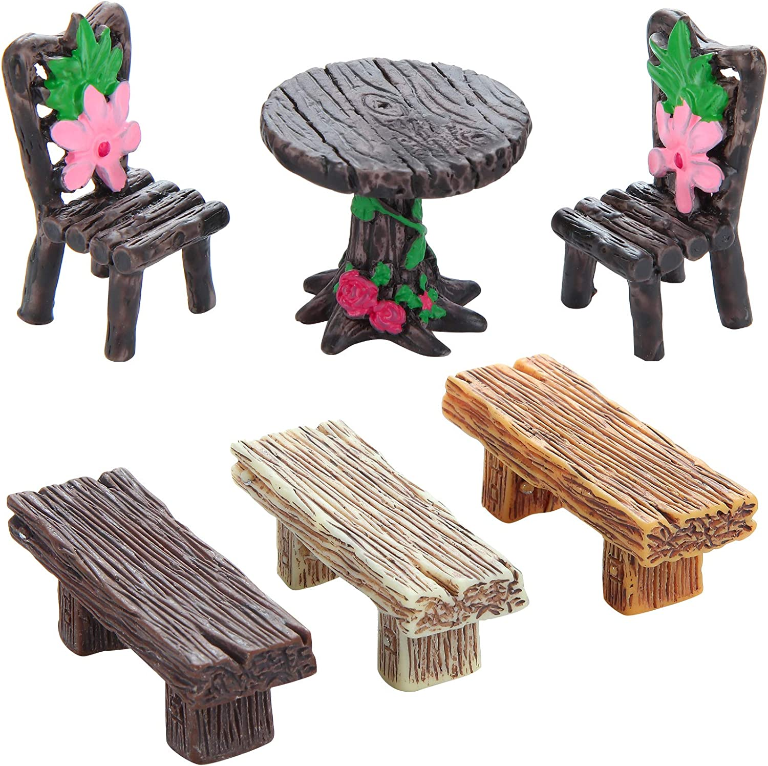 WILLBOND 6 Pieces Miniature Table and Chairs Set Retro Wooden Style Benches Miniature Ornaments White Yellow Black for Garden Flowerpot Crafts Dollhouse Fairy Decoration