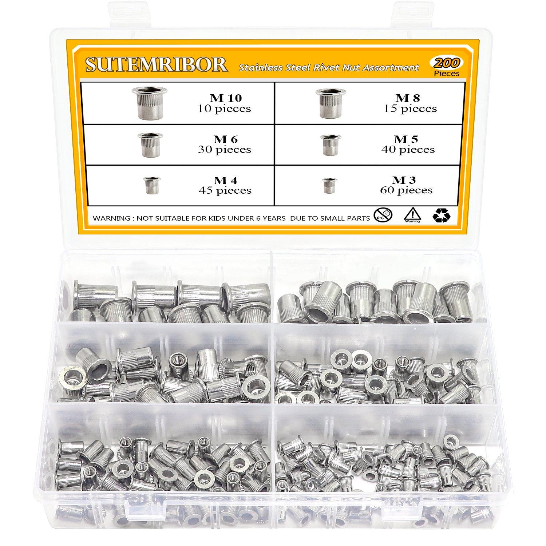 Sutemribor 304 Stainless Steel Flat Head Threaded Rivetnut Insert Nutsert Rivet Nut Assortment Kit 200 Pcs, 6 Sizes - M3 M4 M5 M6 M8 M10