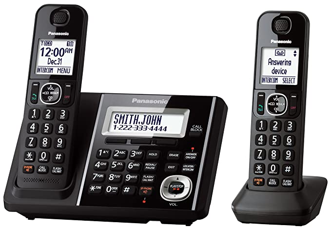 amazon com panasonic kxtgf342b dect 2 handset landline telephone rh amazon com