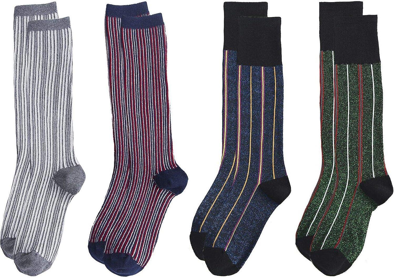 SPEEDITOP 4 Pack Womens Girls Cotton Knit Knee High Designer Patterned Causal Dress Socks
