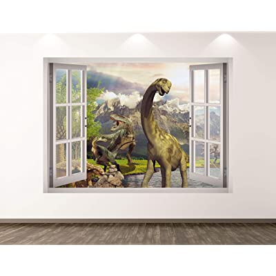 "West Mountain Dinosaur Wall Decal Art Decor 3D Window Animal Landscape Sticker Mural Kids Room Custom Gift BL348 (22"" w x 16"" H): Home & Kitchen"