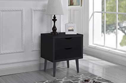 Mid Century Modern Nightstand Side Table With 2 Drawers Dark Grey