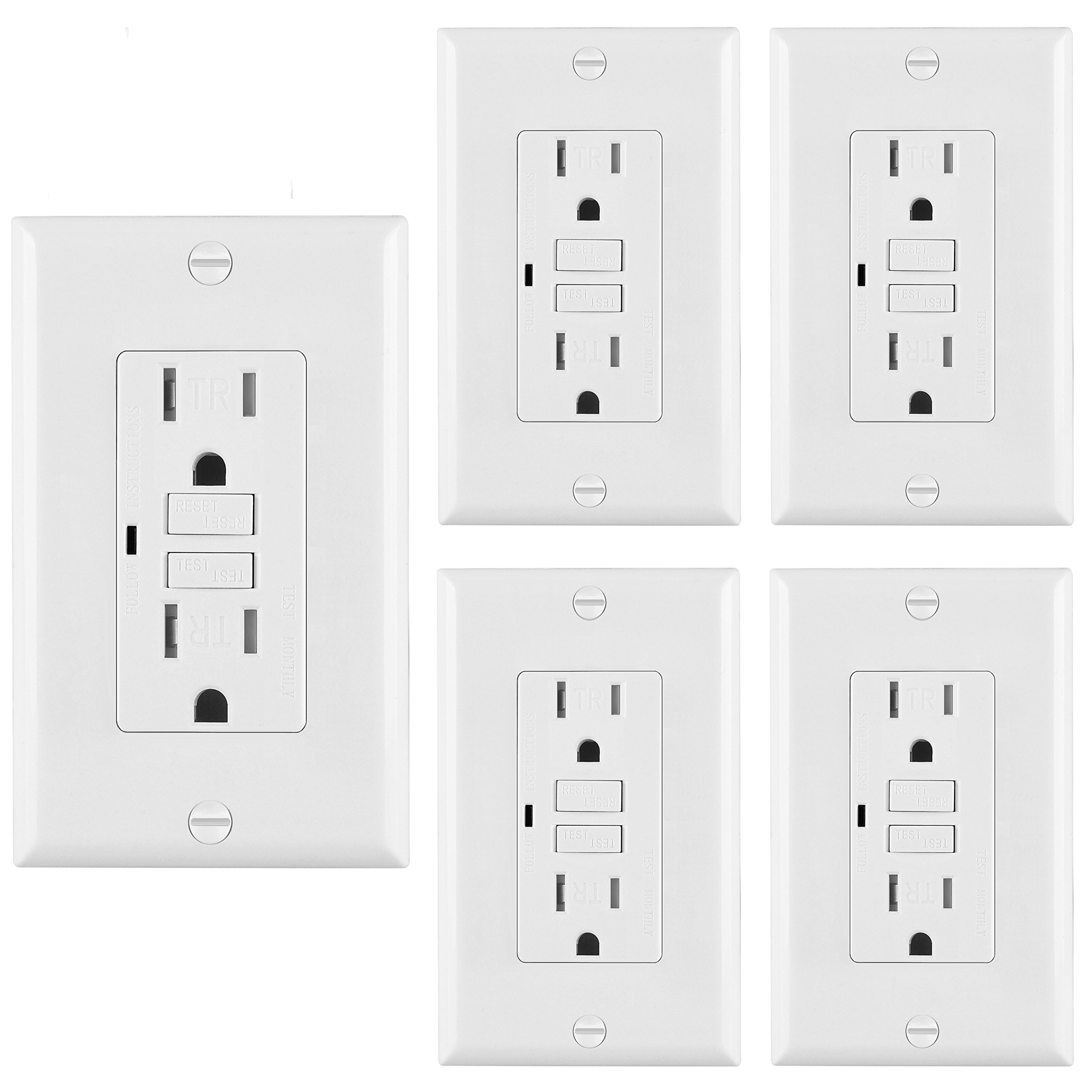 [5 Pack] BESTTEN Self-Test Tamper Resistant GFCI Receptacle Outlet with LED Power Indicator, 15 Amp 125 Volt, Decor Wall Plate Included, Auto-Test Function, UL Certified, White