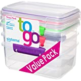 Sistema Klip It Food Storage To Go Containers, 1 L - Assorted, Pack of 3