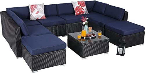 PHI VILLA Outdoor Sectional Furniture 9 Piece Patio Sofa Set Low-Back Rattan Wicker Conversation Set, Navy Blue