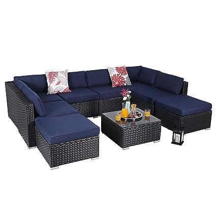 Amazon.com: PHI VILLA - Juego de muebles de patio de ratán ...