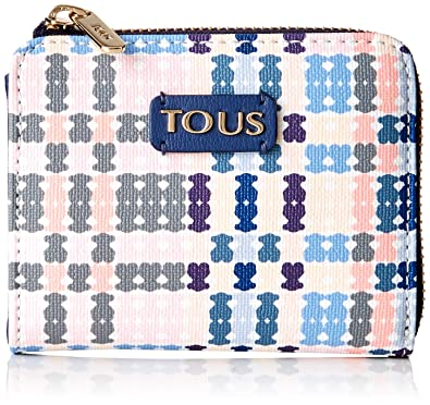 Tous S. Tartan Bears - Monedero para Mujer, Azul/Rosa, 11 x 10 x 2 cm
