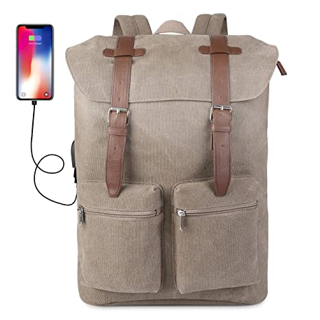 153c8c26b475 Prasacco Vintage Canvas Backpack Hiking Camping Dayback Travel Rucksack  Outdoor Water Resistant Anti Theft 15.6 inch
