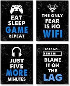 """Video Game Decor Set of 4 (8""""X 10""""), Boys Room Decorations for Bedroom, Gaming Wall Art for Kids Boy Playroom Home Decor, gamer wall art,Gamer, Teen boy bedroom, game room, No Frames(black)"""