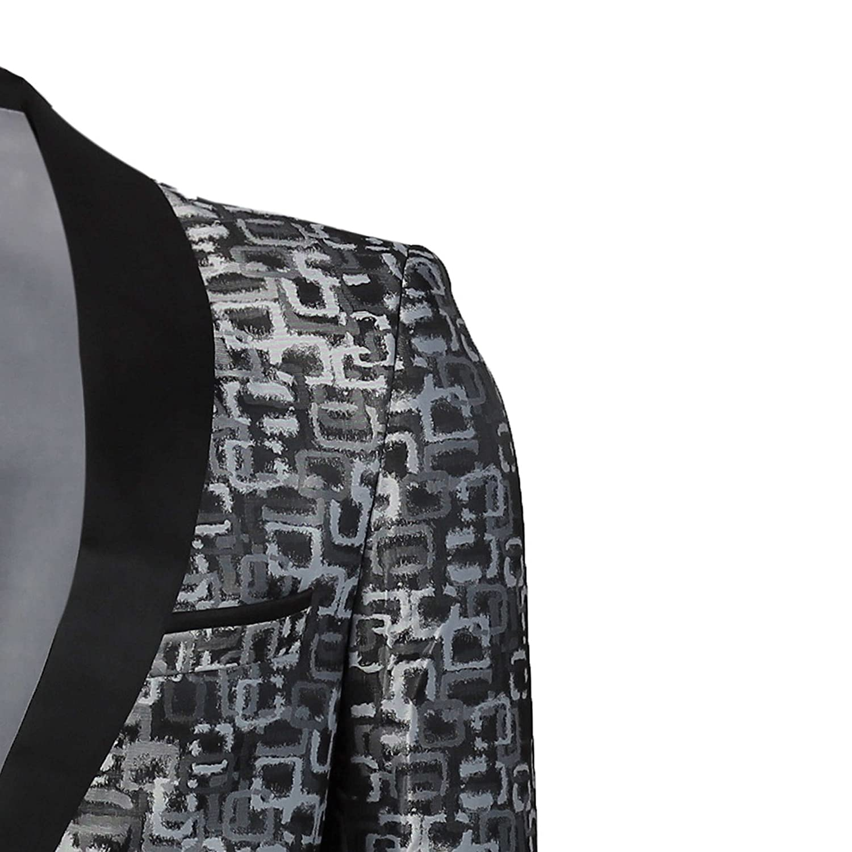 Xposed Mens Tuxedo Jacket Black Shawl Collar Wedding Dinner Dress Party Slim Fit Printed Blazer Grey//Blue