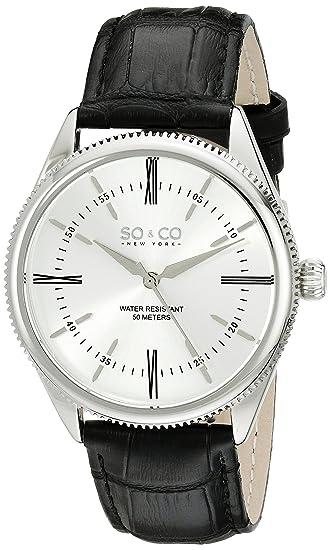 SO & CO New York Reloj analógico para Hombre de Cuarzo con Correa en Piel 5023.2