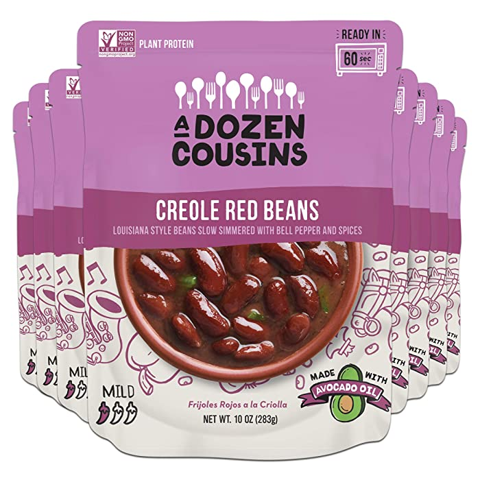 A Dozen Cousins Meals Creole Red Beans - Ready to Eat, Vegan and Non-GMO & Seasoned - Made with Avocado Oil (Kidney Beans, 8-pack)