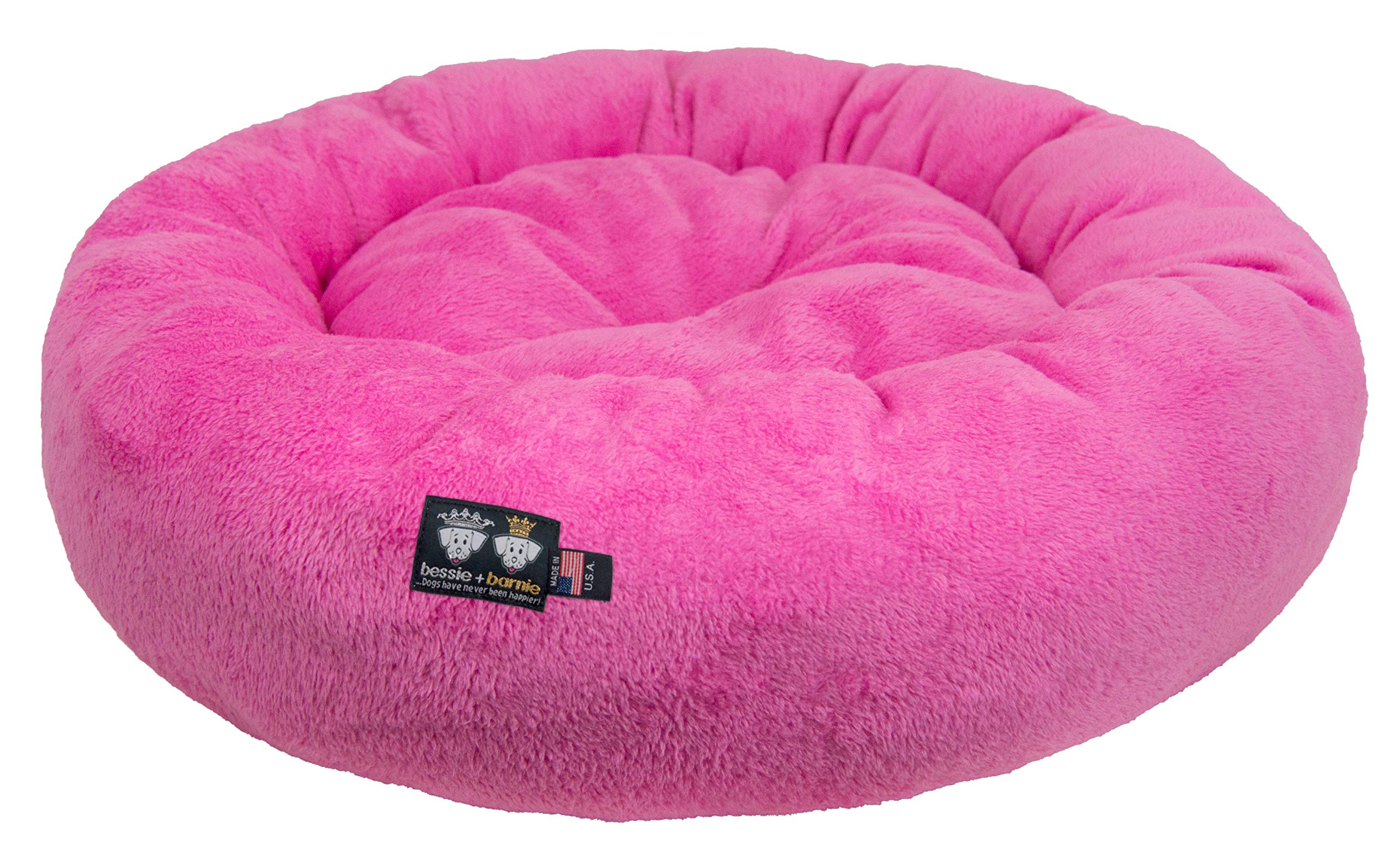 BESSIE AND BARNIE Ultra Plush Deluxe Comfort Pet Dog & Cat Pink Snuggle Bed (Multiple Sizes) - Machine Washable, Made in The USA, Reversible, Durable Soft Fabrics by BESSIE AND BARNIE