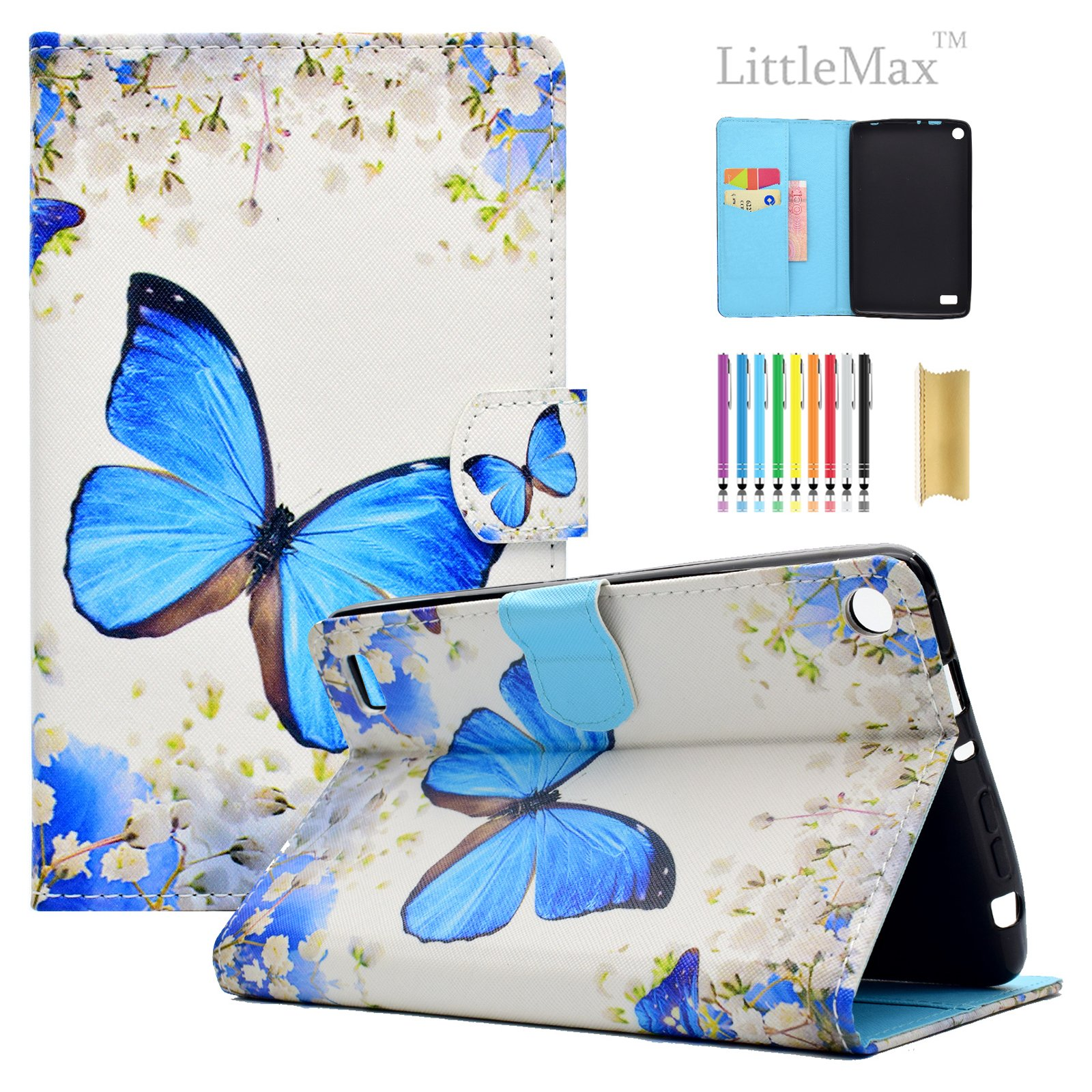 Kindle Fire 7 Case,LittleMax Ultra Slim PU Synthetic Leather Case Flip Stand [Magnetic Closure] Cover for Amazon Kindle Fire 7 5th Gen 2015 version with 1 Free Stylus Flower Butterfly