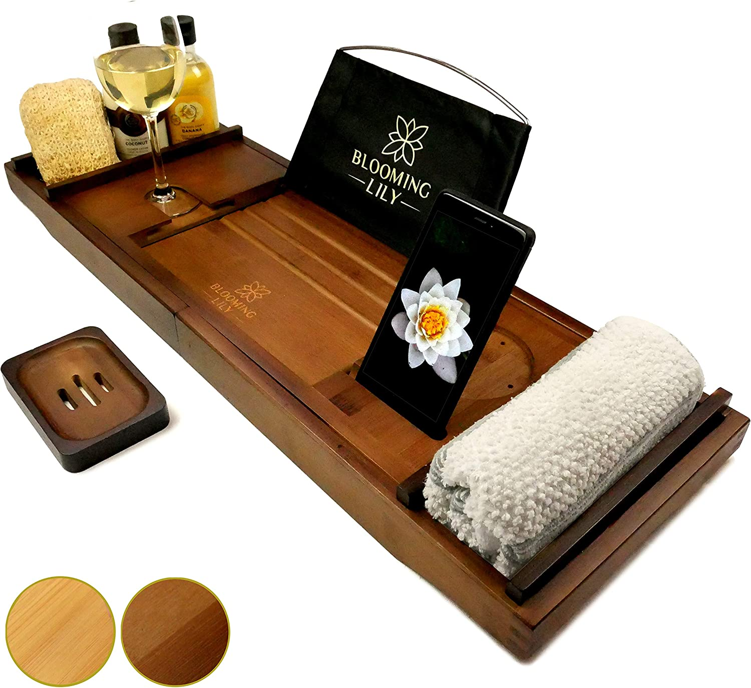 Blooming Lily Bathtub Tray - Sturdily Designed Bath Caddy with Wine Glass Holder, Ipad Stand and More Suitable for Most Baths (Brown): Kitchen & Dining