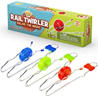 Retro Magic Rail Twirler - 3 Pack - Light Up Magnetic Toy For Kids Boys Girls - Fun Sensory Toy With Spinning Wheel and Flashing LEDs | Rail Twister Vintage Fidget Toy for Adults & Children | 3 Colors