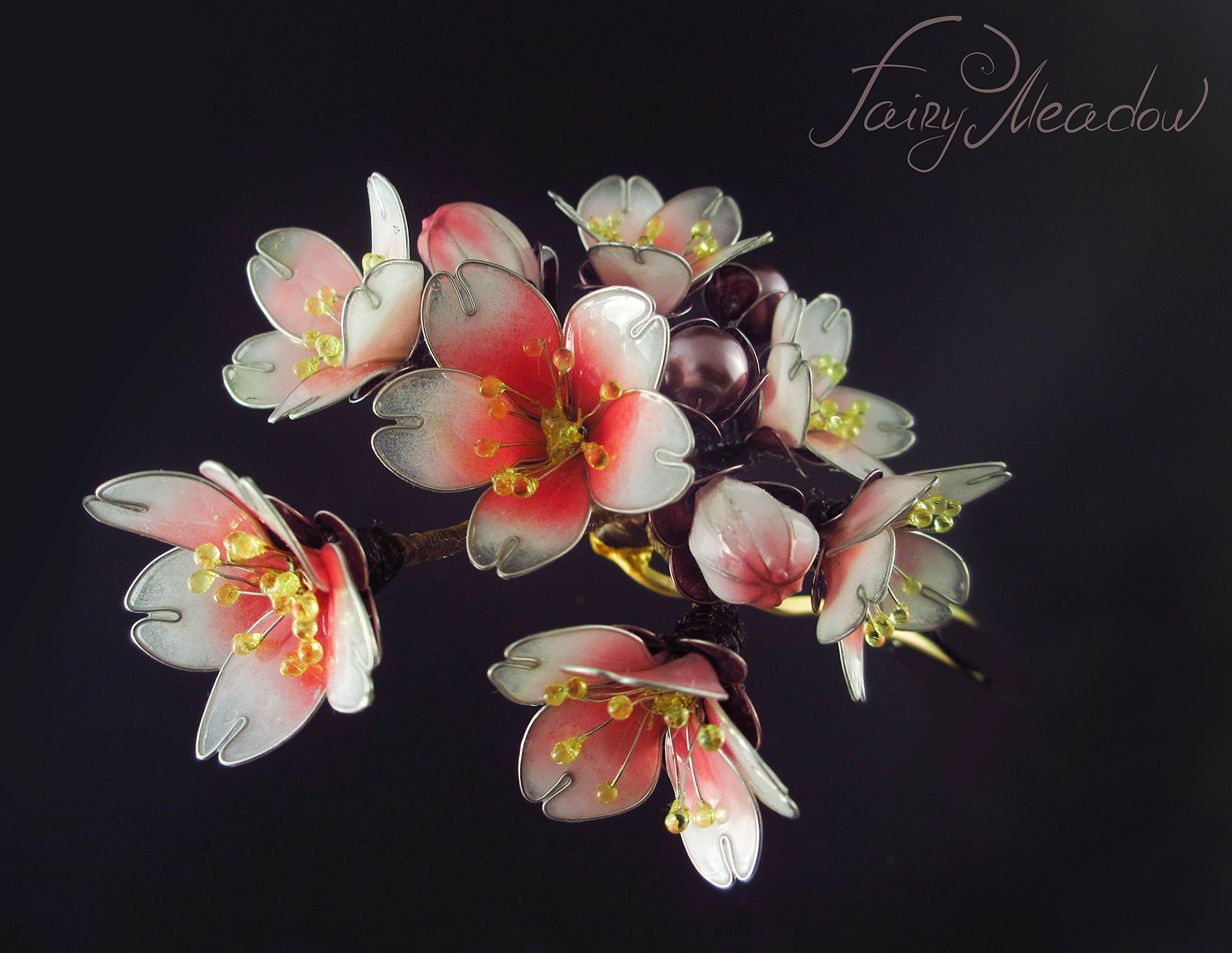 Sakura Blossoms Hairpin Handmade Pink Cherry Bloom Resin Stick Japanese Kanzashi