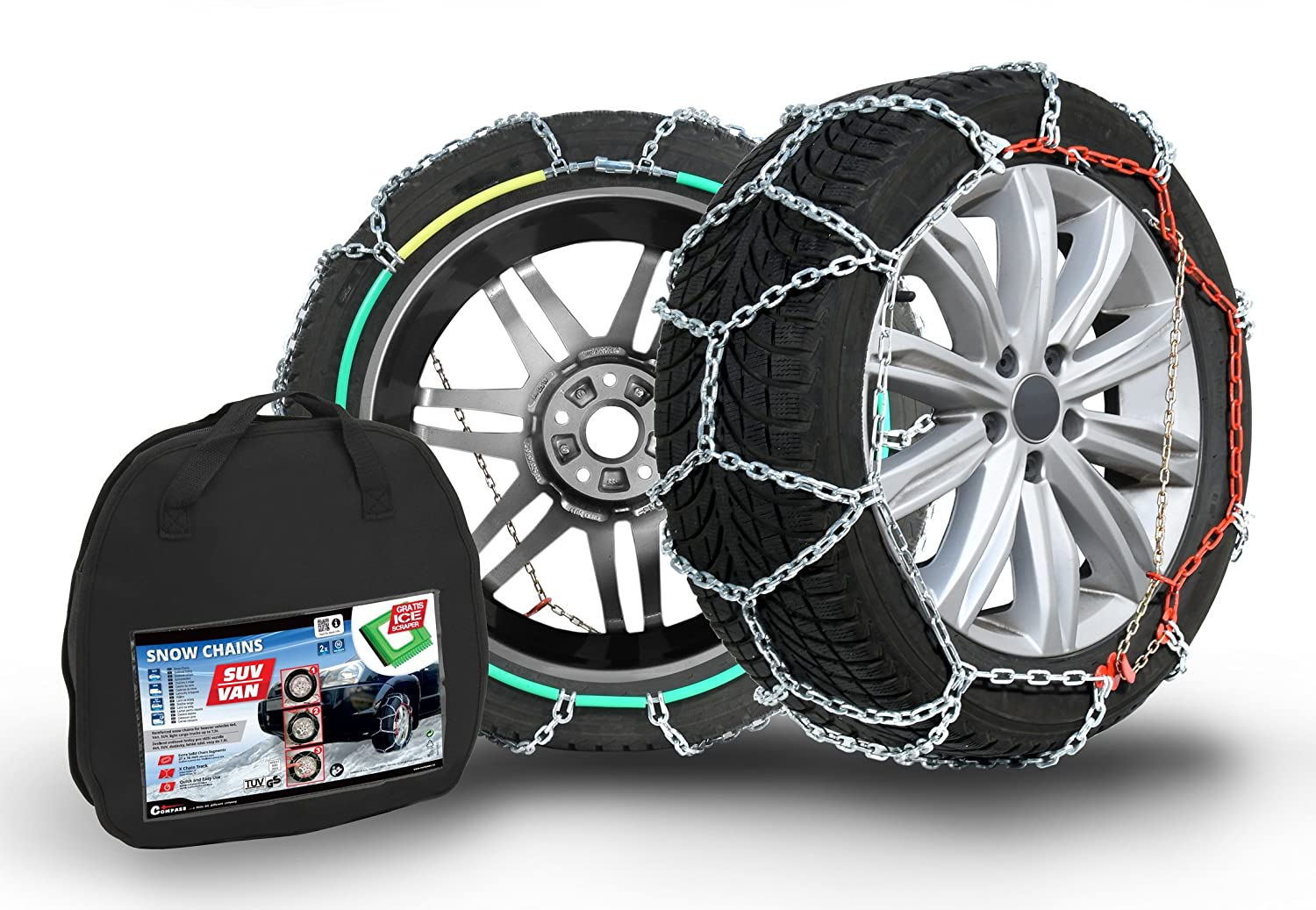 Compass SUV-Van Snow Chains for 285/45 R20 Tyres, Extra strong 16x27mm. TÜ V-approved (270), 1 Pair Extra strong 16x27mm. TÜV-approved (270)