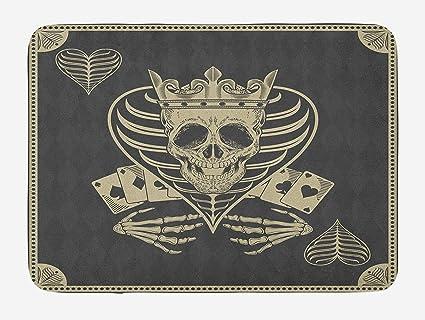 Amazon com : Skull Bath Mat, Vector Skull Poker Cards Play