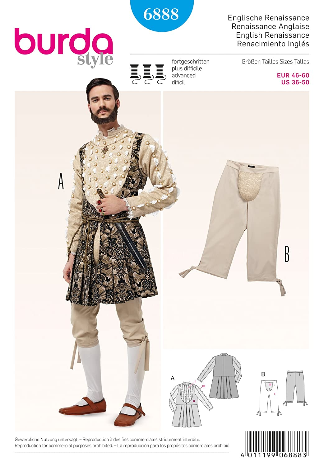 6888 Burda Men's English Renaissance Costume Sewing Pattern Sizes 36-50 by Burda   B00LGFQS22