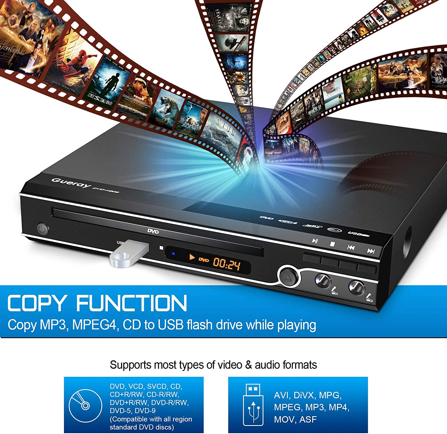 Gueray Compact Dvd Player Multi Regions No Code With Elektronik