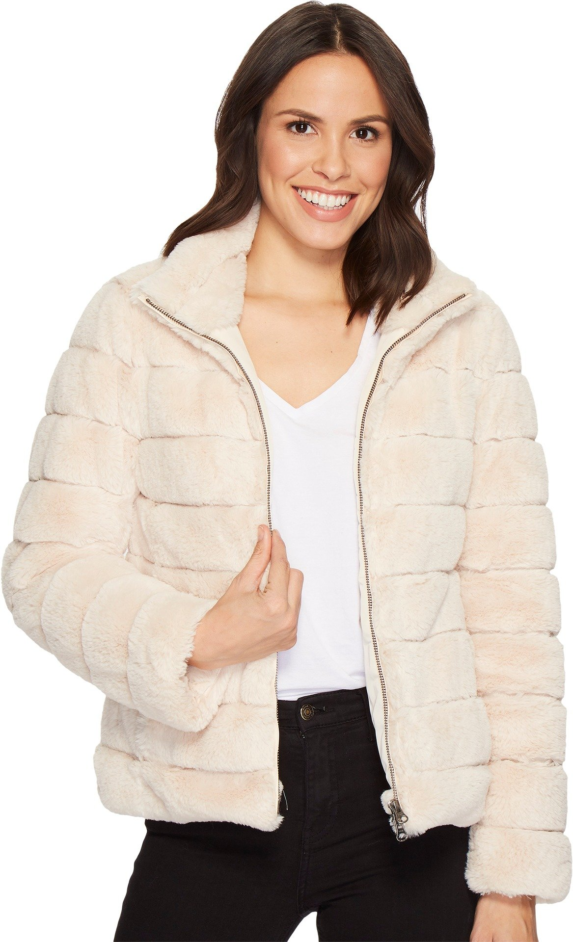 Dylan by True Grit Women's Soft Faux-Fur Love Zip Jacket With Seamed Stitches, Lining and Pockets Ivory X-Large