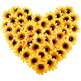 """CEWOR 150pcs Artificial Silk Sunflower Heads 3"""" Fake Faux Flower Heads Yellow Floral for Wedding Centerpieces Decor Home Deco"""