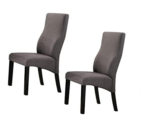 Kings Brand Cappuccino / Grey Upholstered Parsons Dining Chairs, Set Of 2