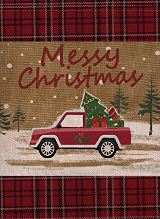 Selmad Home Decorative Merry Christmas Garden Flag Red Truck Double Sided, Rustic Quote House Yard