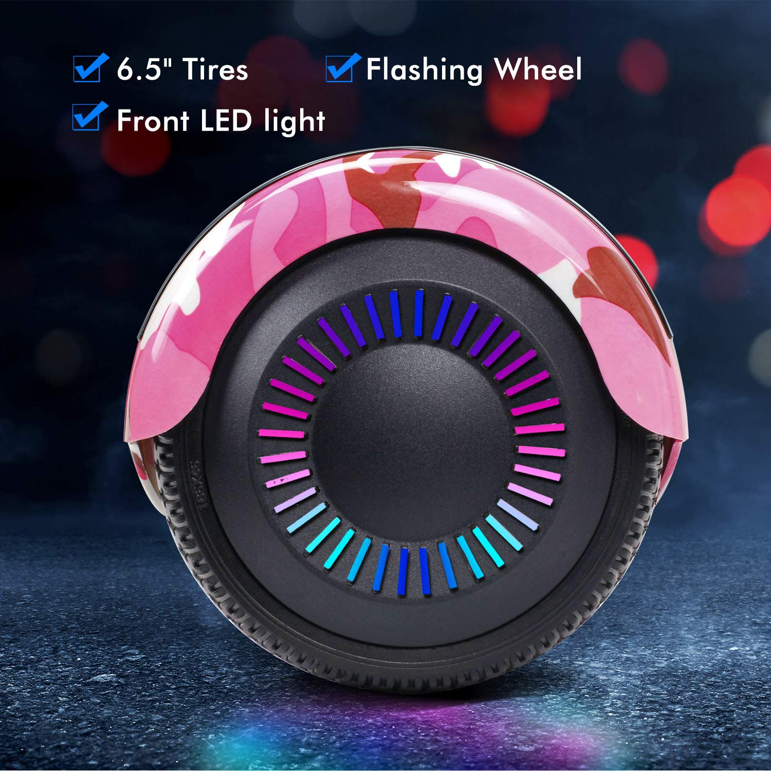 SISIGAD Hoverboard Self Balancing Scooter 6.5'' Two-Wheel Self Balancing Hoverboard with Bluetooth Speaker and LED Lights Electric Scooter for Adult Kids Gift UL 2272 Certified Fun Edition - Pink Camo by SISIGAD (Image #2)