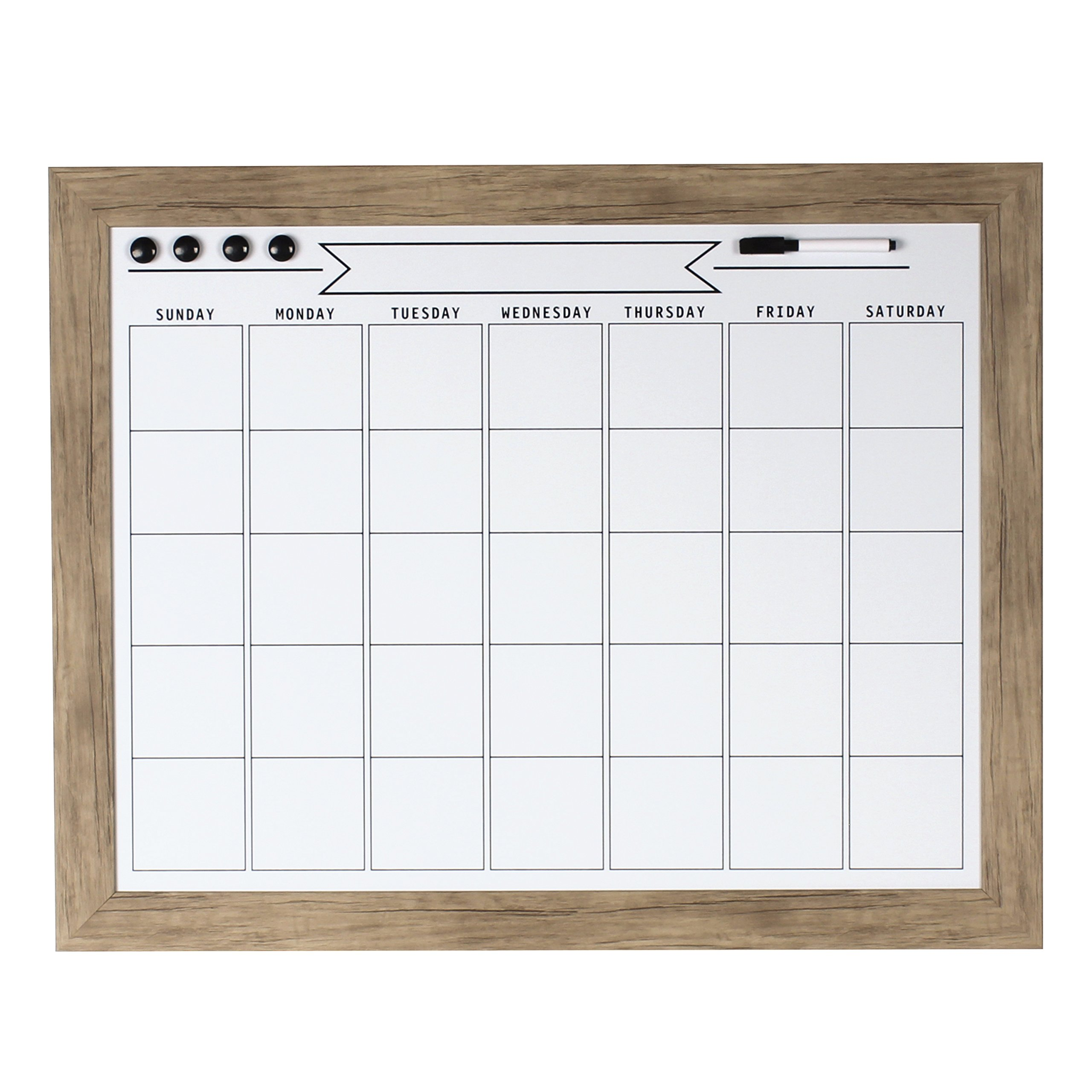 DesignOvation Beatrice Framed Magnetic Dry Erase Monthly Calendar, 23x29, Rustic Brown by DesignOvation