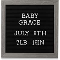 """Pearhead 10"""" x 10"""" Letterboard, Rustic Nursery, Message Board, Baby Announcement Sign, Dark Gray"""