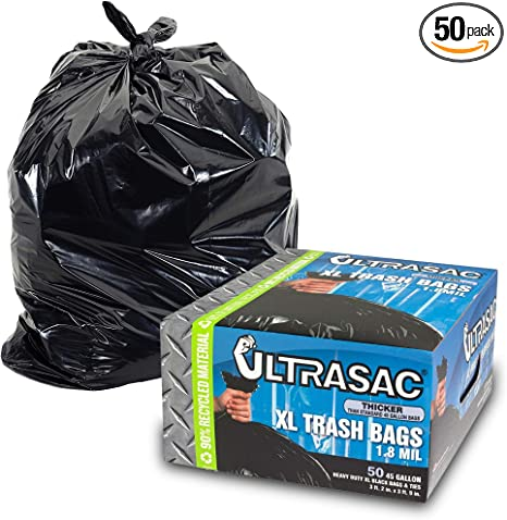 100-Pack Black 45 Gallon Heavy Duty Trash Bags Can Liners