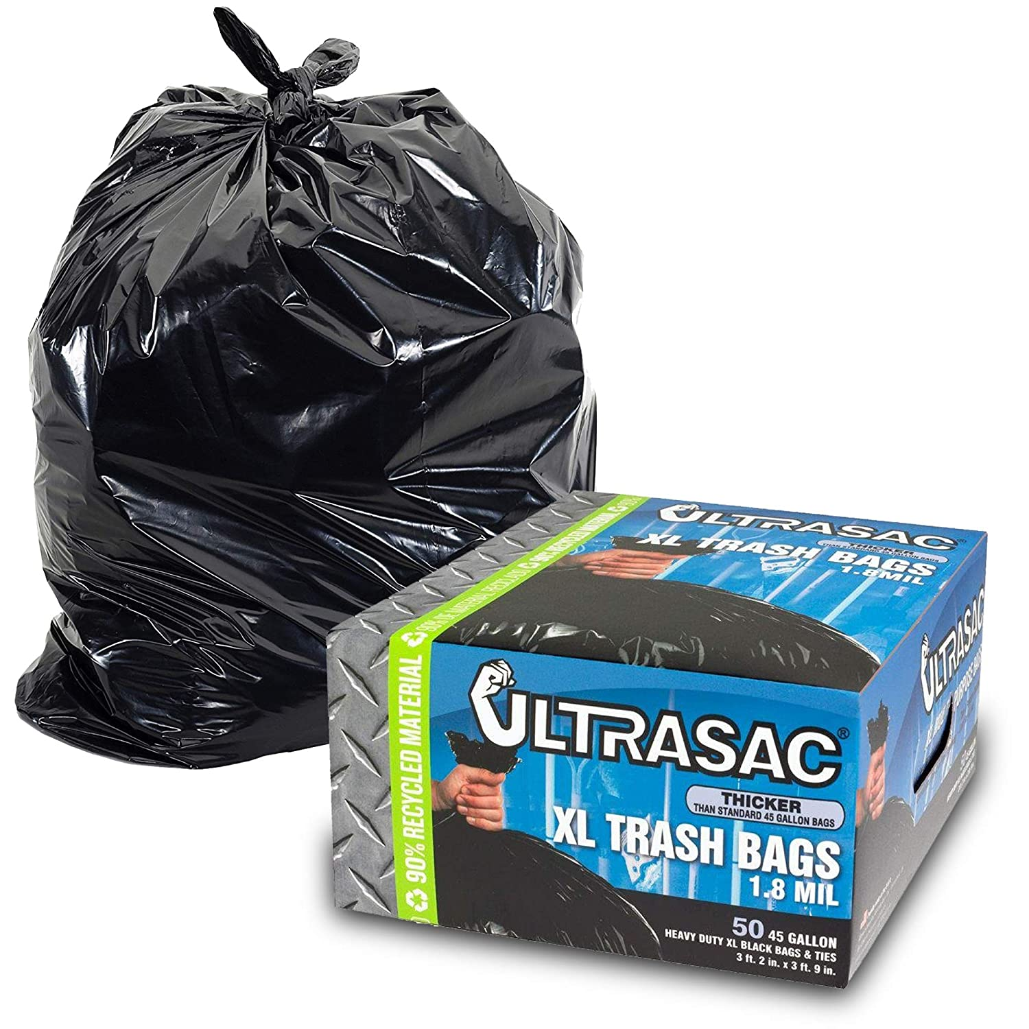 """Heavy Duty 45 Gallon Trash Bags by Ultrasac - (Huge 50 Count/w Ties) - 1.8 MIL - 38"""" x 45"""" - Large Black Plastic Garbage Bags for Contractor, Industrial, Home, Kitchen, Commercial, Yard, Lawn, Leaf,"""