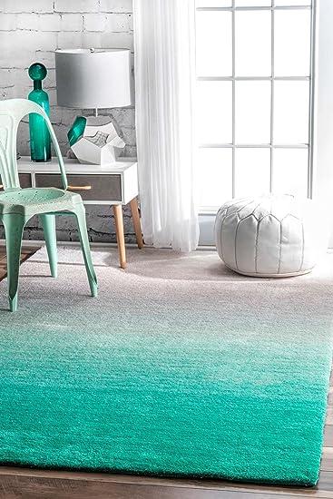 Modern Shag Rug Ombre Teal Grey Shaggy Area Rug Carpet Floor Mat Soft  Fluffy Rug Living