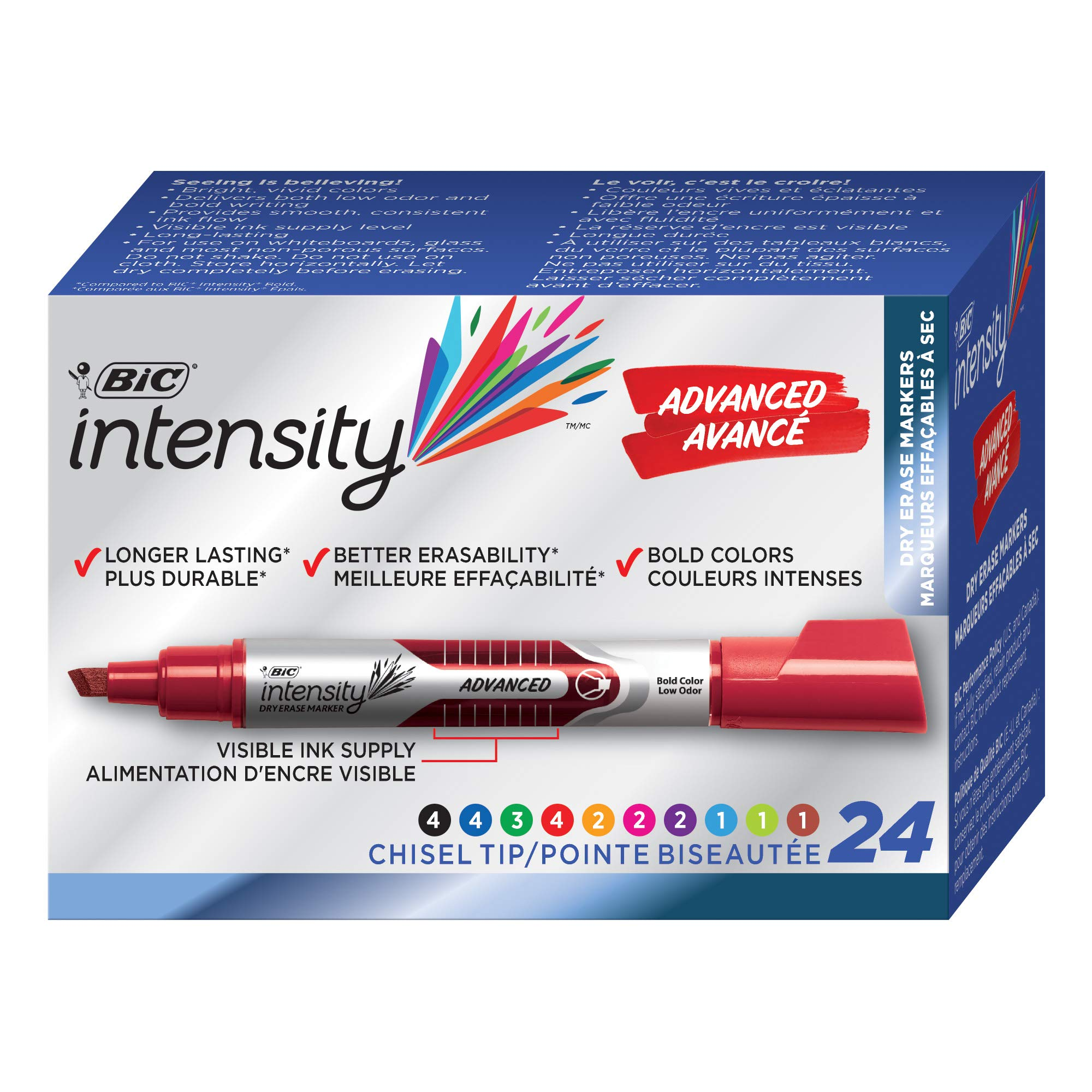 BIC Intensity Advanced Dry Erase Marker, Tank Style, Chisel Tip, Assorted Colors, 24-Count