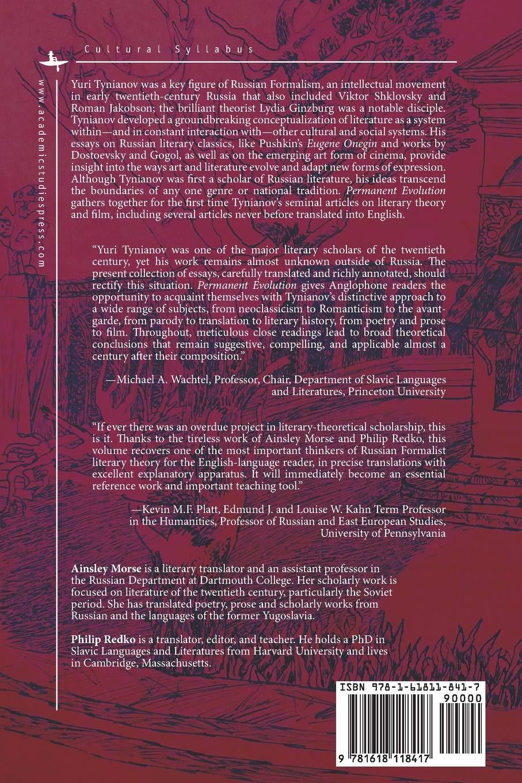Amazon Com Permanent Evolution Selected Essays On Literature Theory And Film Cultural Syllabus 9781618118417 Tynianov Yuri Morse Ainsley Redko Philip Khitrova Daria Books