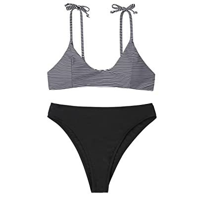 NO NO CAT Women's High Waisted Swimsuit Padded Bathing Suits Adjustable Straps Bikini Set Two Piece Swimwear: Clothing