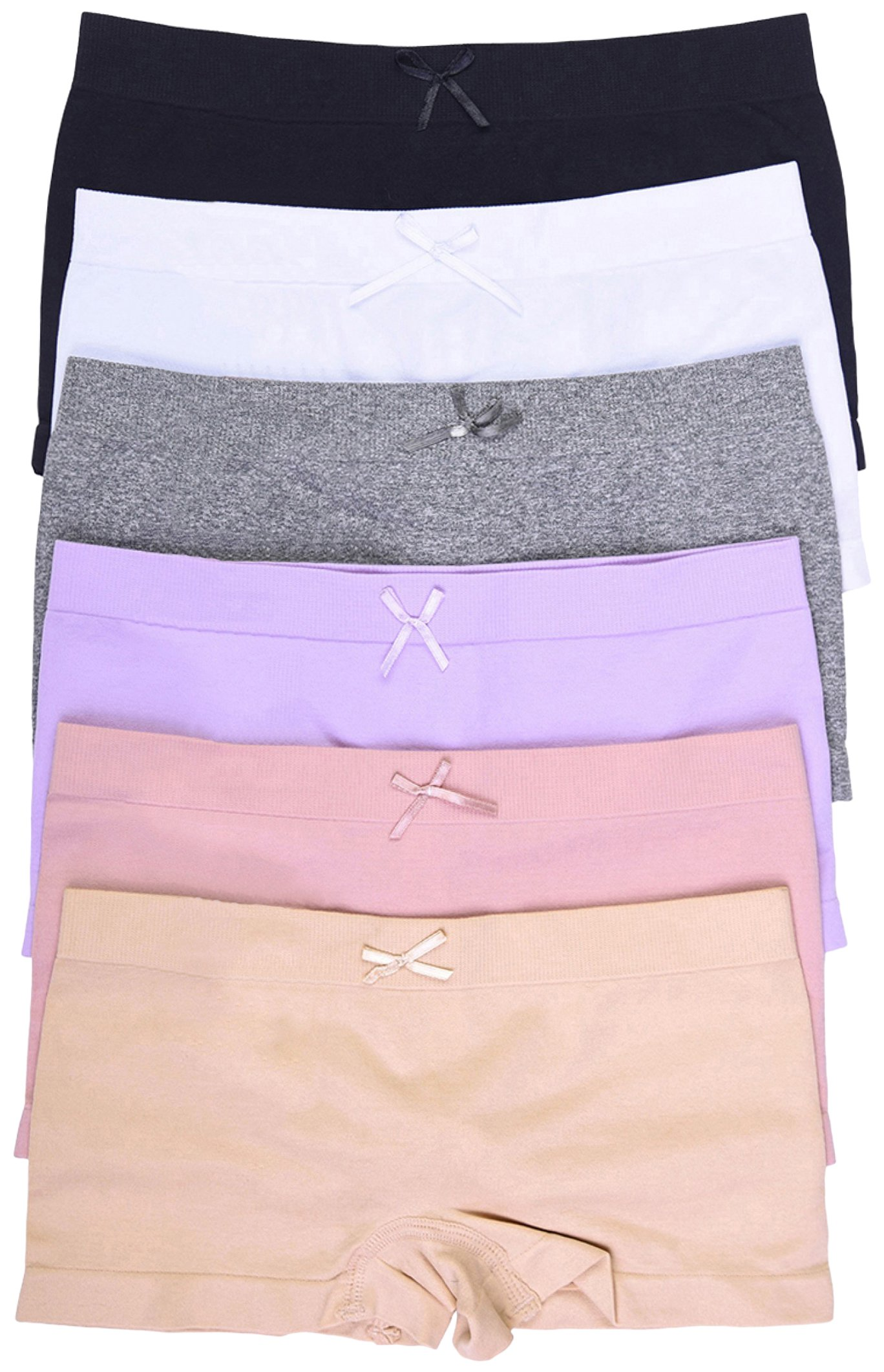 ToBeInStyle Girls' Pack of 6 Solid Color A Ribbon Seamless Boyshorts - L/XL