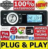 Plug -And -Play Harley Davidson Touring 1998-2013 Aquatic A/V Waterproof Radio Stereo Works With Thumb Controls