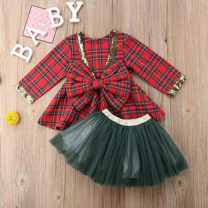 Toddler Girl Christmas Dress 2 Pcs Skirt Sets Plaid Sequin Bowknot Suit Top+Lace Tutu Skirt Party Dress