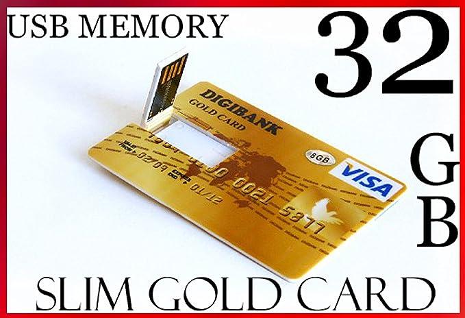 Memoria USB 2.0 de 32 GB ultrafina de alta velocidad con diseño de tarjeta de crédito, color dorado